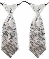 X stuks carnaval verkleed stropdas pailletten zilver 10294902