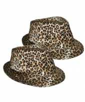 X stuks trilby carnaval verkleed hoedje luipaard