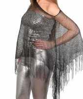Zilveren carnaval poncho omslagdoek stola dames